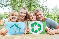 Zeichnung vom Eigenheim und Recycling Logo