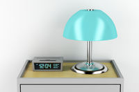 Nightstand with alarm clock and lamp