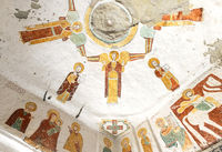 Deckengewölbe mit Darstellungen von im Kreis angeordneten Erzengeln und Evangelisten