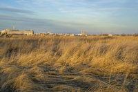 grassland and industrial landscape