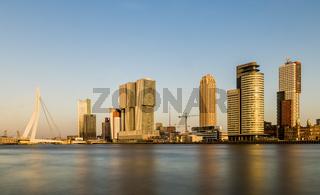Rotterdam Wilhelminapier  with Bridge Evening Light