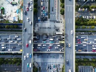 busy road intersection of modern city