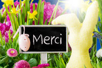 Spring Flowers, Easter Decoration, Merci Means Thank You