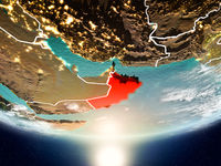 Oman with sun on planet Earth
