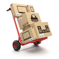 Sale and delivery of computer technics concept. Hand truck and cardboard boxes with PC, laptop, computer monitor and printer isoolated on white.