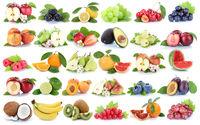 Früchte Frucht Obst Collage Apfel Orange Banane Orangen Erdbeere Äpfel Kirschen Freisteller freigestellt isoliert