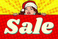Santa girl with sale poster