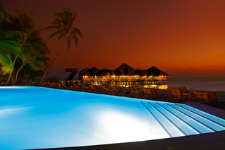 Pool and cafe on tropical Maldives island
