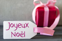Pink Gift, Label, Joyeux Noel Means Merry Christmas