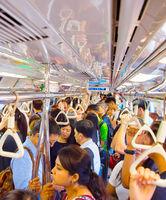 Crowded Singapore metro train