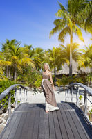 The beautiful woman in a long dress on the wooden bridge