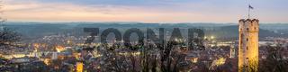 Sonnenuntergang ueber Ravensburg | Format 4:1