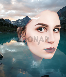 Portrait of young woman and nature landscape
