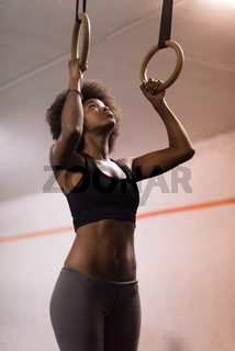 black woman doing dipping exercise