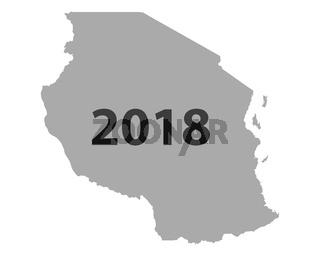 Karte von Tansania 2018 - Map of Tanzania 2018