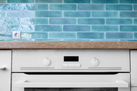 New modern white oven with display
