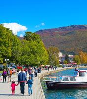 Walking at Ohrid lake. Macedonia