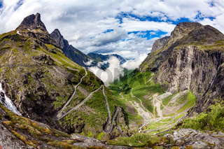 Troll's Path Trollstigen or Trollstigveien winding mountain road.