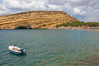 Matala beach and caves on rocks. Crete island. Greece