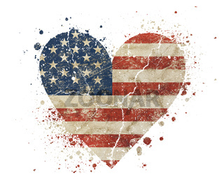 Heart shaped old grunge vintage American US flag