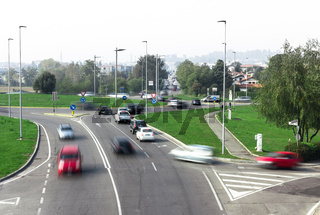 Road traffic at roundabout junction