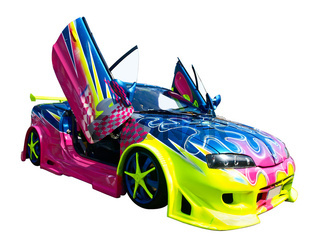 tuned car with wing doors