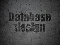 Software concept: Database Design on grunge wall background