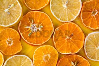 Slices of dry orange and lemon
