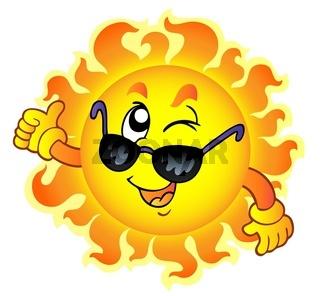 Cartoon winking Sun with sunglasses - color illustration.