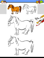 drawing and coloring activity with horse or pony