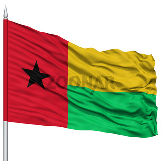 Guinea Bissau Flag on Flagpole