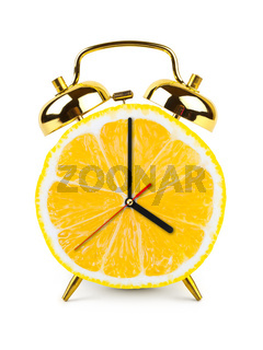 Clock made of fruit