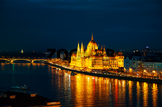 Overview of Budapest with the Parliament building