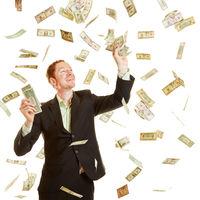 Casino Gewinner fängt Dollar Geldscheine