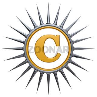 copyright symbol mit stacheln auf weißem hintergrund - 3d rendering
