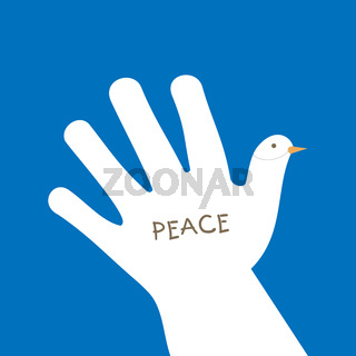 International peace day with hand making the form of dove and asking for peace