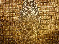 Golden crocodile leather closeup background.