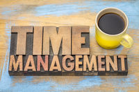 time management word abstract in wood type