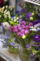 Fresh spring flowers in flower shop
