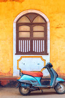 Abstract travel photo of wall and window in India