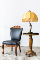 Black chair with lamp