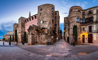 Panorama of Ancient Roman Gate and Placa Nova in the Morning, Barcelona, Catalonia