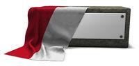 steinsockel mit leerem schild und fahne von monaco - 3d rendering