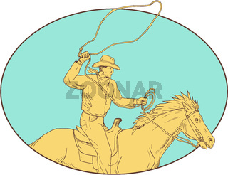 Rodeo Cowboy Lasso Horse Circle Drawing