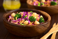 Red Cabbage, Chickpea, Carrot and Broccoli Salad