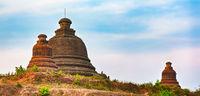 Stupa  in Mrauk U. Myanmar. Panorama