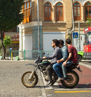 Motorcyclists on Tehran street.  Iran