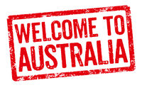 Red stamp on a white background - Welcome to Australia
