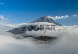Panorama with the top of Koryaksky volcano, Kamchatka peninsula Russia