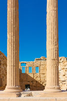 Columns of The Erechtheion temple in Acropolis